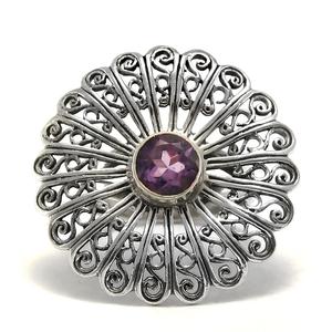 Филигранен сребърен пръстен с аметист