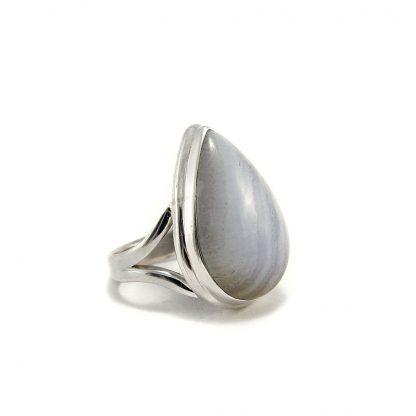 Сребърен пръстен със син дантелен ахат