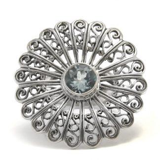 Сребърен филигранен пръстен със син топаз