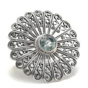 Филигранен сребърен пръстен със син топаз