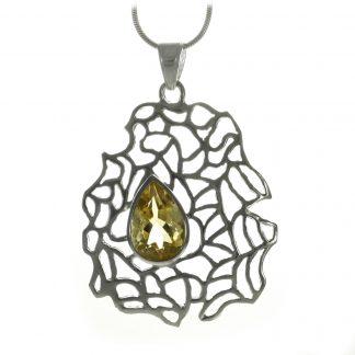 Сребърен медальон с цитрин