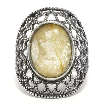 Едър сребърен пръстен със златен рутилов кварц