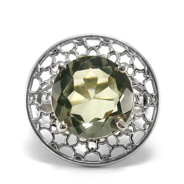 Сребърен пръстен с празиолит (зелен аметист)