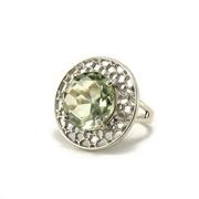 Сребърен пръстен с празолит (зелен аметист)