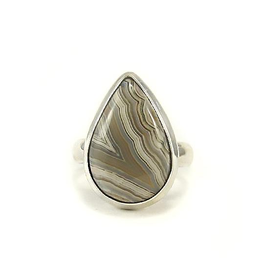Сребърен пръстен с лагуна лейс ахат
