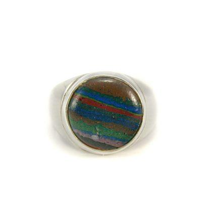Сребърен пръстен с рейнбоу калцит