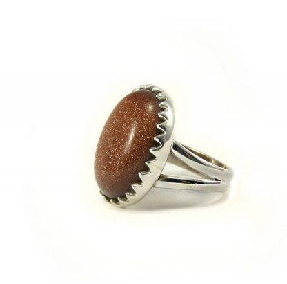 Сребърен пръстен с пясъчен авантюрин