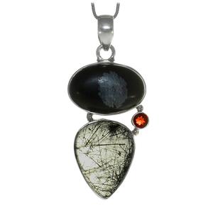 Сребърен медальон с турмалинов кварц, ахат и гранат
