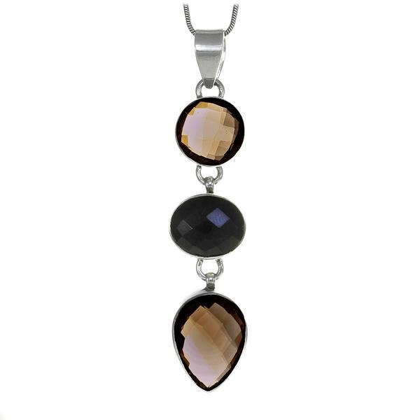 Сребърен медальон с опушен кварц и черен оникс