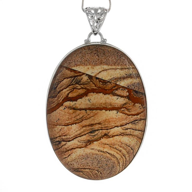Масивен медальон с пейзажен яспис