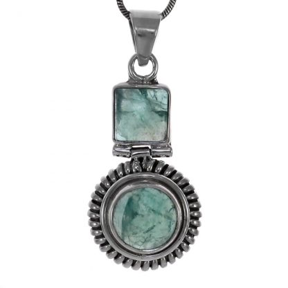 Сребърен комплект обеци и медальон с апатит