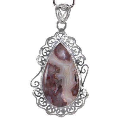 Сребърен комплект обеци и медальон с лагуна лейс ахат и аметисти