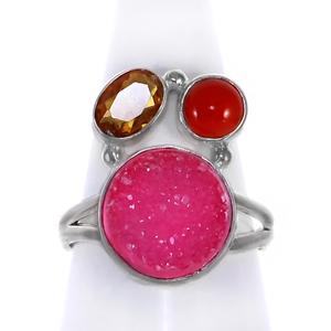 Сребърен пръстен с друза, червен оникс и фасетиран цитрин