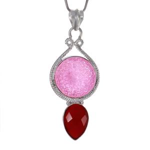 Сребърен медальон с рубинена друза и червен оникс