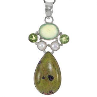 Сребърен медальон с атлантисит, фасетиран пренит, перидот и перли