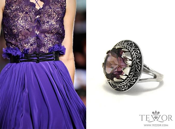 Романтичен пръстен с аметист в сребърен обков. Разгледайте го ТУК.