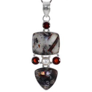 Сребърен медальон с астрофилит и гранати