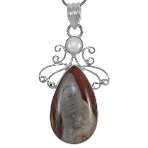 Сребърен медальон с имперски яспис и перла