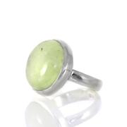 Сребърен пръстен с пренит