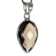 Сребърен комплект обеци и медальон с фасетиран опушен кварц