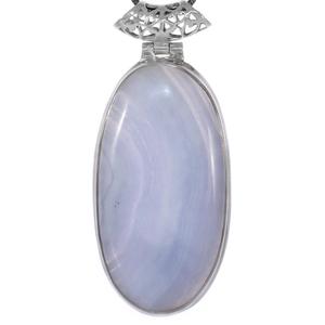 Голям медальон със син дантелен ахат в сребърен обков