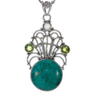 Сребърен медальон с хризокола, придоти и перла