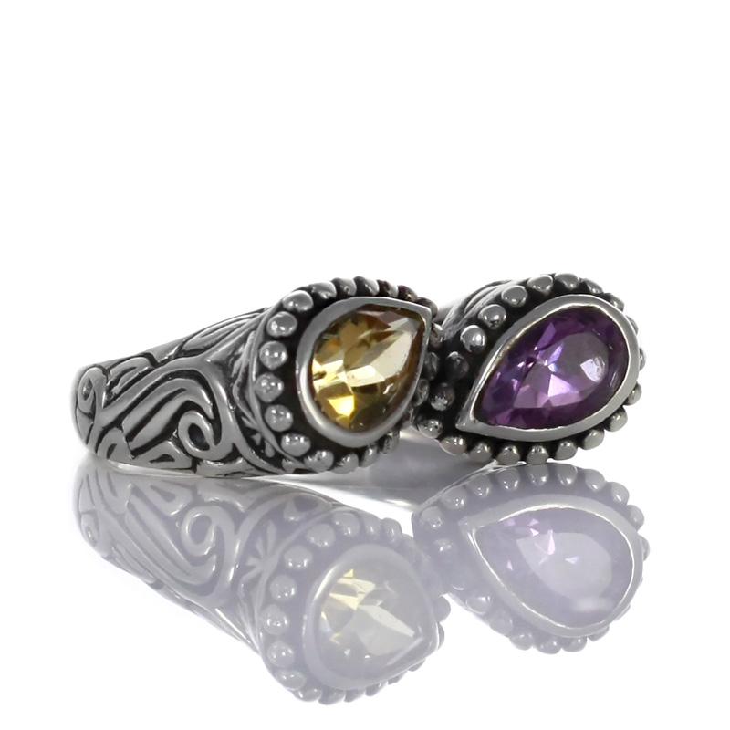 Сребърен пръстен с фасетиран аметист и цитрин