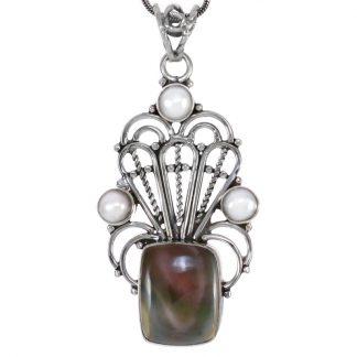 Сребърен медальон с имперски яспис и перли