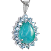 Сребърен медальон с ларимар и сини топази