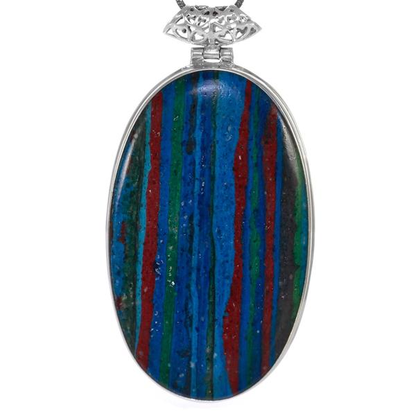 Масивен сребърен медальон с рейнбоу калцит