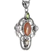 Сребърен медальон със слънчев камък