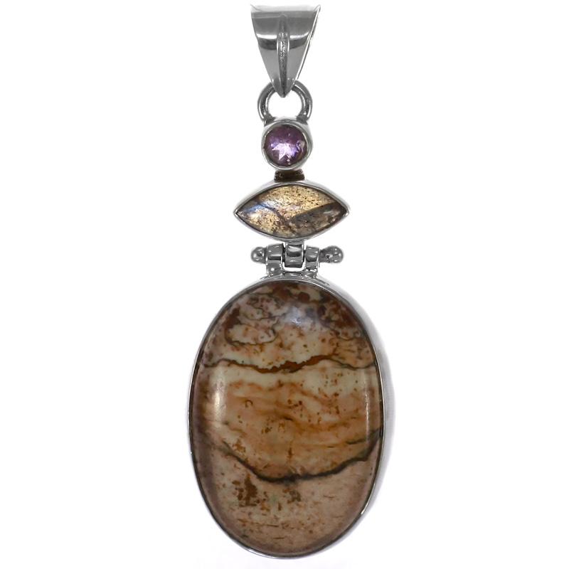 Голям сребърен медальон с пейзажен яспис, лабрадорит и аметист
