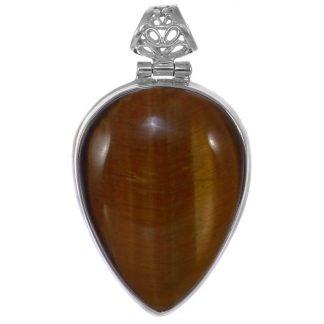 Медальон с тигрово око в сребърен обков