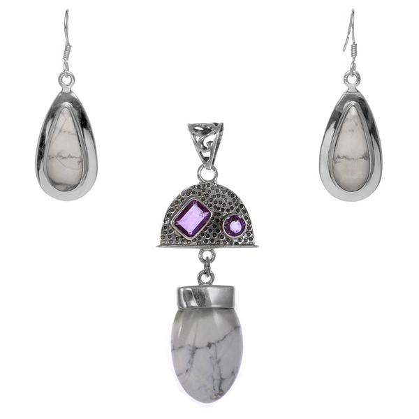 Сребърен комплект обеци и медальон с хаулит и аметисти