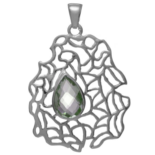 lСребърен медальон с празиолит (зелен аметист)