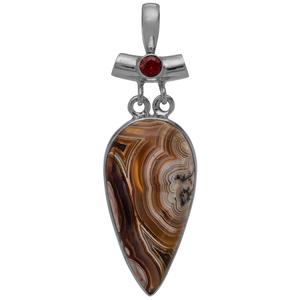 Сребърен медальон с лагуна лейс ахат и гранат