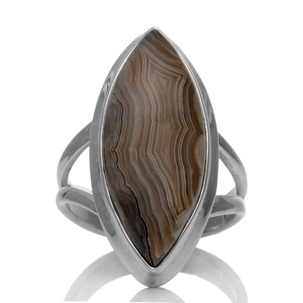 ребърен пръстен с лагуна лейс ахат