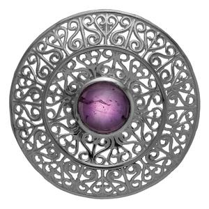 Сребърен медальон с аметист във филигранен обков
