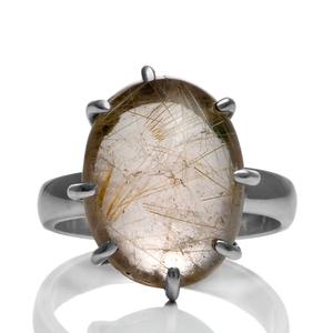 Сребърен пръстен с рутилов кварц