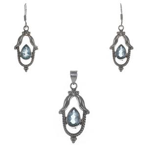Сребърен комплект със син топаз