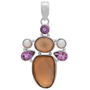 Сребърен медальон с халцедон, аметисти и перли