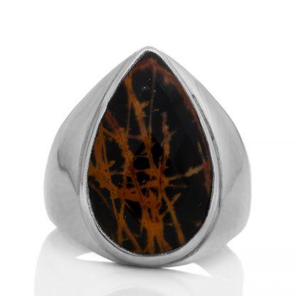 Сребърен пръстен с фасетиран пилбара яспис