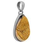 Сребърен медальон с друза със златисто покритие