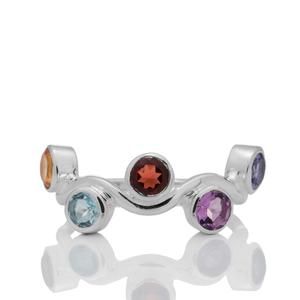 Сребърен пръстен с аметист, цитрин, гранат, син топаз и иолит