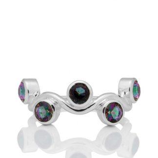 Сребърен пръстен с мистик топази