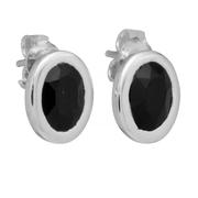 Сребърни овални обеци с черен оникс на винт