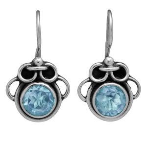 Сребърни обеци със син топаз