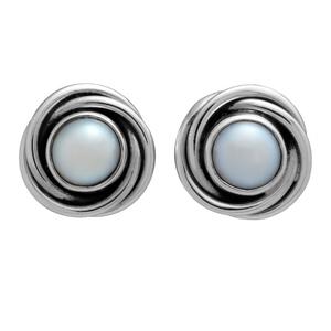Сребърни обеци с перла на винт