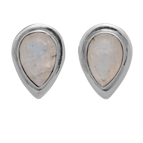 Сребърни обеци с лунен камък на винтСребърни обеци с лунен камък на винт