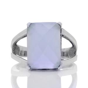 Сребърен пръстен с фасетиран аква халцедон
